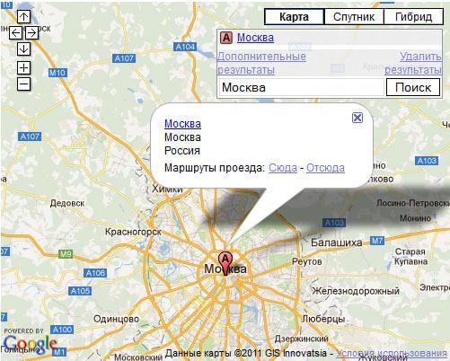 Вывод строки поиска на картах Google